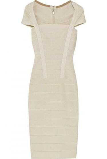 Square-Neck Bandage Dress H009X