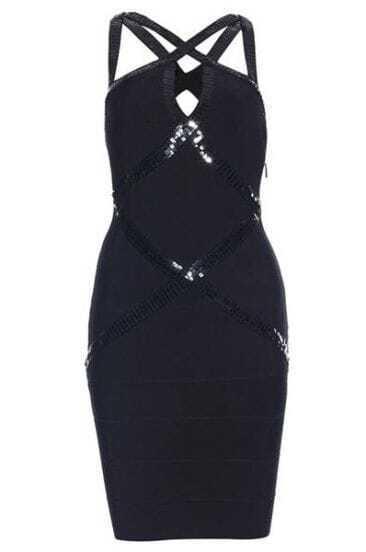 Sequin-applique Bandage Dress H020H