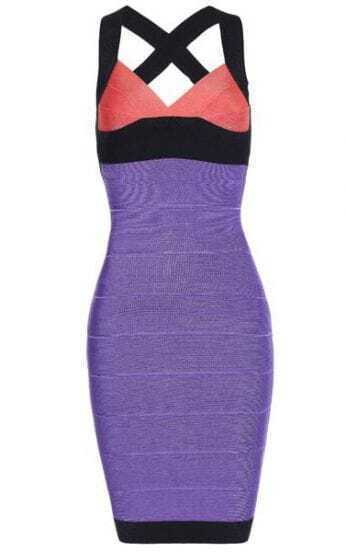 Bqueen V Neck Bandage Dress Purple H023P