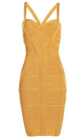 Novelty Essential Bandage Dress Orange h033Y
