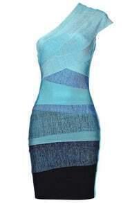 One-Shoulder Ombre Dress Green H051L