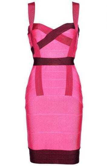 Color Accent Bandage Dress H052F
