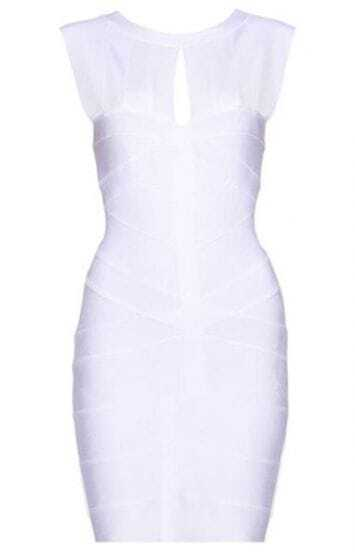 Keyhole Bandage Dress White H065B