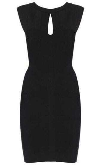 Keyhole Bandage Black Dress H065H