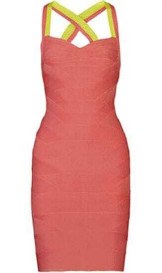 Two-Tone Bandage Dress H080C