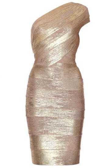 Single Shoulder Gold Dress H108J