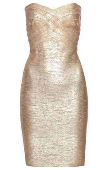 Metallic Strapless Dress H109J