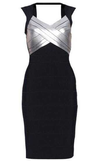 Sequined-Detail Bandage Dress H110E