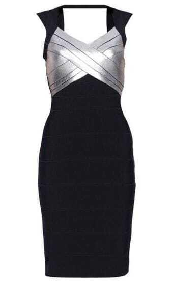 Sequined-Detail Bandage Dress H110E