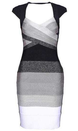 Ombre Open-Back Bandage Dress H113W2