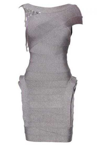 Heathered Bandage One-Shoulder Dress H114W2