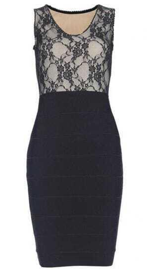 Vneck Lace Patch Bandage Dress H116H