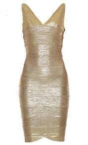 Foil Print Bandage Dress H150J