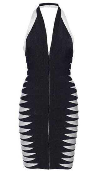 Roxanne Bandage-Insert Halter Dress H167E