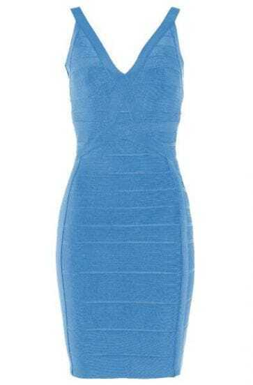 Deep V-Neck Dress Blue H183L