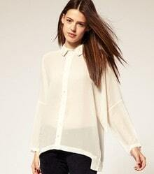 White Long Sleeve Stitching Shirt