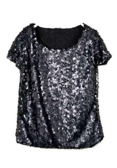 Black Sequined Bling-Bling Short Sleeve Shirt