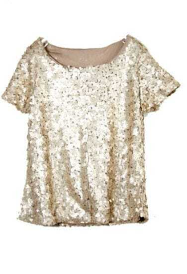 Gold Sequined Bling-Bling Short Sleeve Shirt