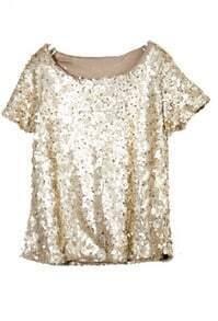 Gold Sequined Bling-Bling Short Sleeve Shirt