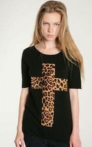 Black Leopard Cross Cotton T-shirt