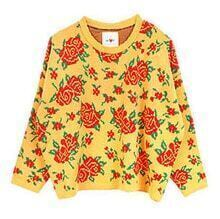 Rose Pattern Loose Sweater Yellow