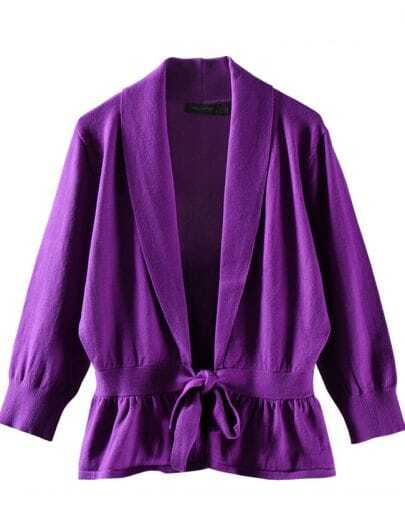 Lapel tie slim cardigan purple