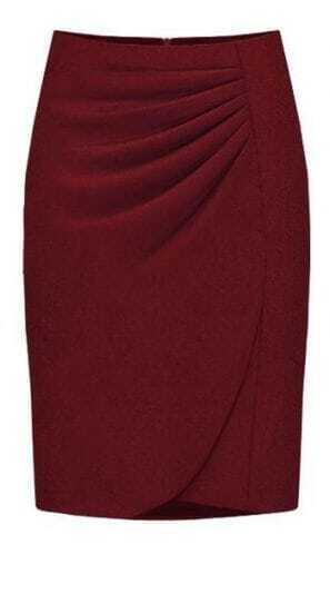 Purplish-red Fashion Professional Skirt