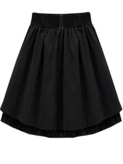 Black Lace Pleated Skirt