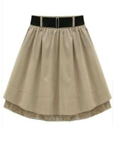 Apricot Lace Pleated Skirt