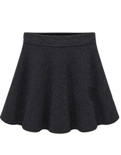 Black Woolen Pleated Skirt