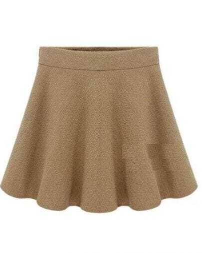 Apricot Woolen Pleated Skirt