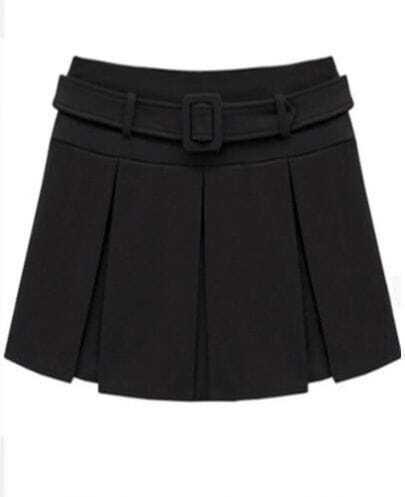 Black Woolen Pleated Skirt