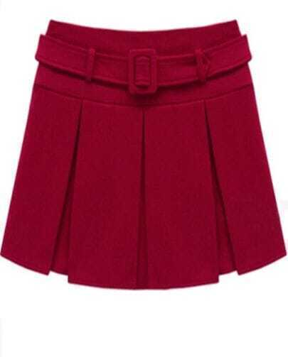 Red Woolen Pleated Skirt