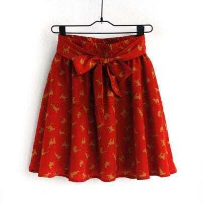Red Cat Chiffon Skirt