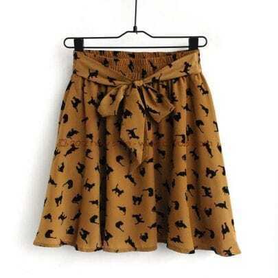 Brown Cat Print Chiffon Skirt