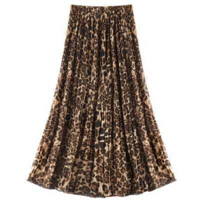 Leopard Pleated Chiffon Skirt