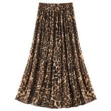 Leopard Pleated Chiffon Skirt