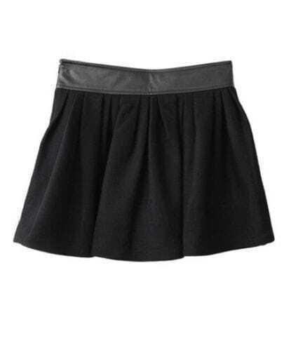 Black Woolen Mini Ball Gown Pleated Skirt
