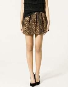 Leopard Ball Gown Mini Pleated Skirt