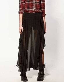 Black Asymmetric Pleated Chiffon Long Sheer Skirt
