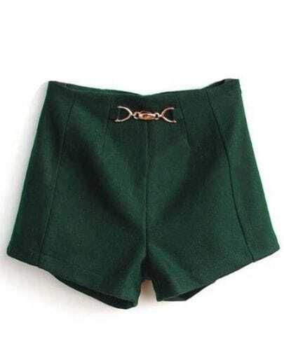 High Waist Slim Wool Shorts Green