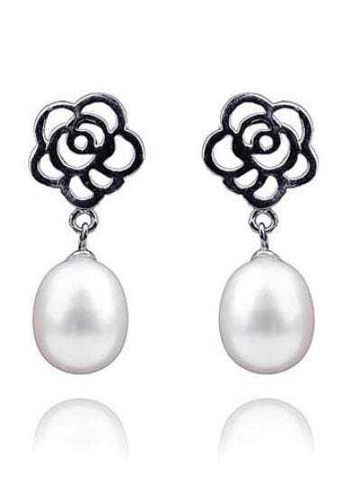 8-9mm White Pearl Sterling Silver Flower Stud Earring