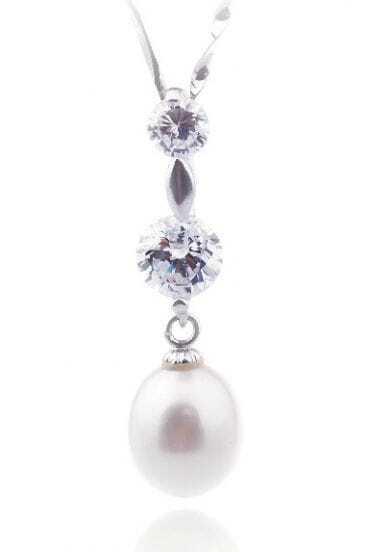 9-10mm White Drop Diamond Pendant Sterling Silver Necklace
