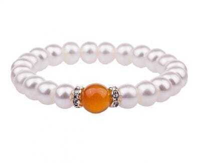 9-10mm White Pearl with Diamond Agate Bracelet
