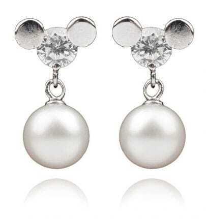 8-9mm White Pearl Sterling Silver Diamond Mickey Earring