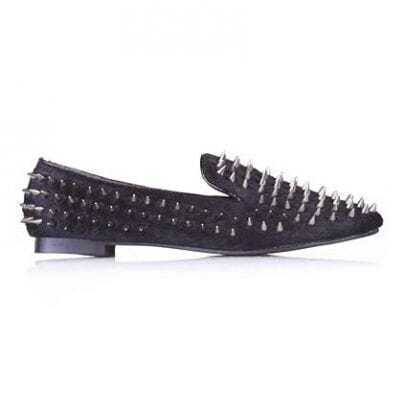 Point Rivets Black Flat Shoes