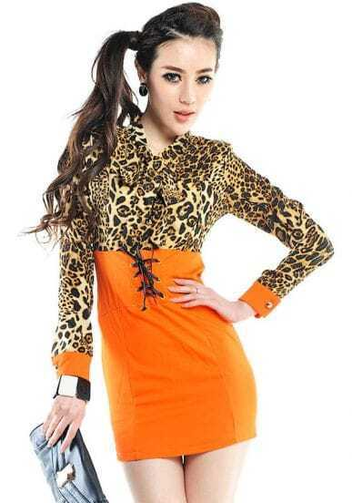 Orange and Leopard High Waist Long Sleeve Dress
