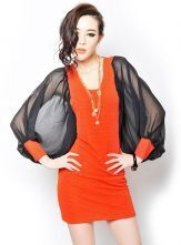 Orange and Black Chiffon Bat-wing Mesh Sleeve Dress