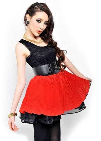 Black and Red Chiffon Tank Dress with Belt