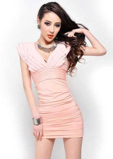 Pink Chiffon V Neck Tiered Dress